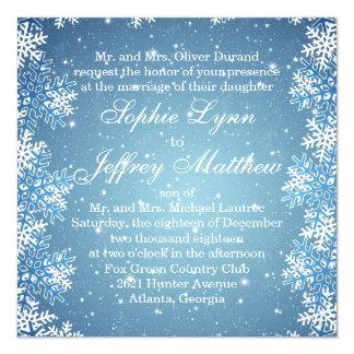 Weiße Schneeflocken auf blauer Hochzeits-Einladung Quadratische 13,3 Cm Einladungskarte
