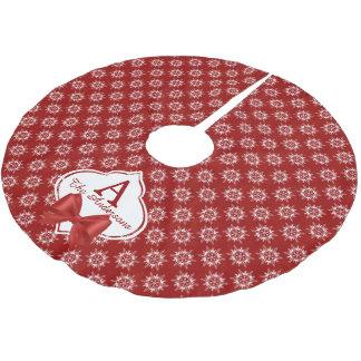 Weiße Schneeflocken auf Rot mit Band-Monogramm Polyester Weihnachtsbaumdecke