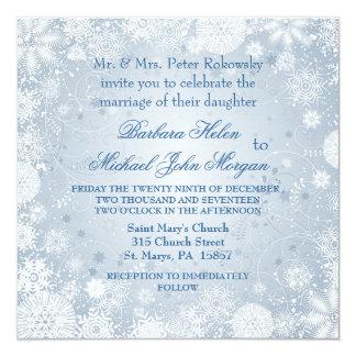 Weiße Schneeflocken auf silberner blauer Quadratische 13,3 Cm Einladungskarte
