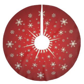 Weiße Schneeflocken auf tiefrotem Polyester Weihnachtsbaumdecke
