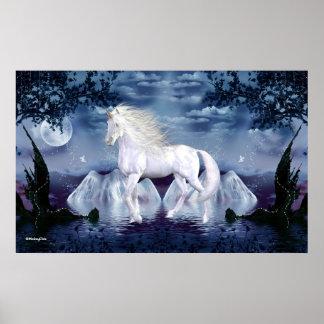 Weiße Schönheits-magisches Einhorn-Plakat 1H Poster