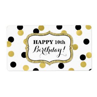 Weiße schwarze Goldconfetti-Geburtstags-Aufkleber