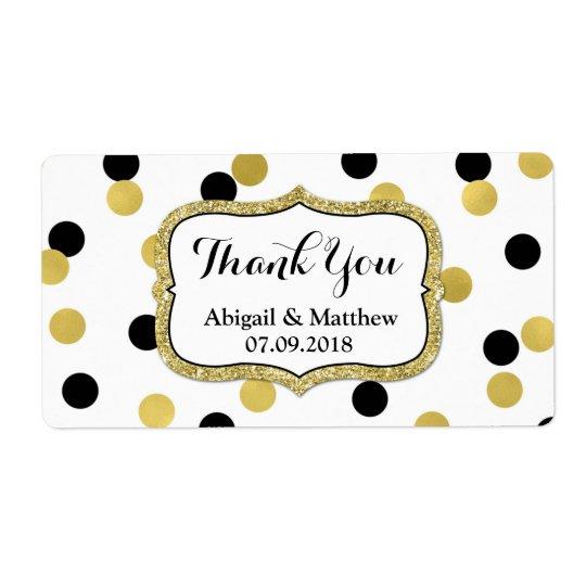 Weiße schwarze Goldconfetti-Hochzeits-Aufkleber Großer Adressaufkleber