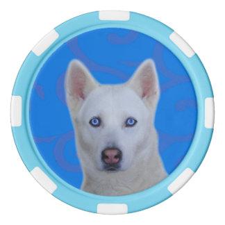 Weiße sibirischer Schlittenhund-Lehm-Poker-Chips, Poker Chips