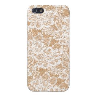 Weiße Spitze auf tan iPhone 4 Haut iPhone 5 Schutzhülle