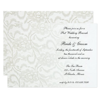 Weiße Spitze-Posten-Hochzeits-Brunch-Einladung 12,7 X 17,8 Cm Einladungskarte