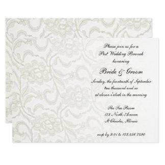 Weiße Spitze-Posten-Hochzeits-Brunch-Einladung Karte