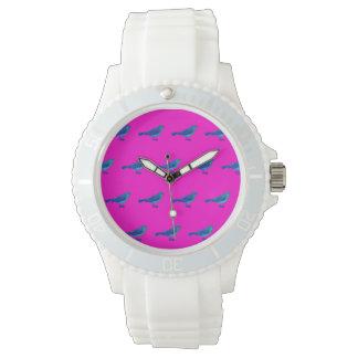 Weiße Sport-Uhr mit rosa Gesicht, Vintage Vögel Uhr