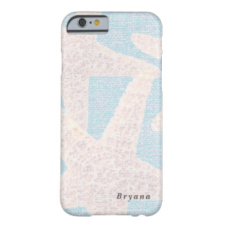 Weiße Starfish u. blauer Leinwand-Strand Barely There iPhone 6 Hülle
