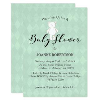 Weiße Teddybär-weises Grün-Diamant-Babyparty 12,7 X 17,8 Cm Einladungskarte