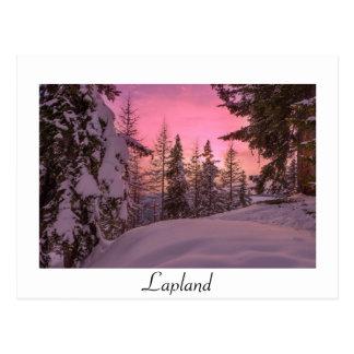 Weiße Textpostkarte rosa Lappland-Sonnenuntergangs Postkarte