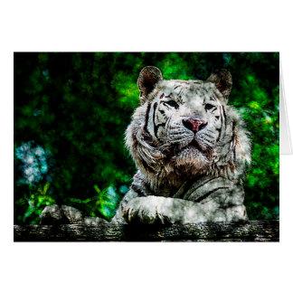Weiße Tiger-gemischte Medien Grußkarte