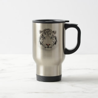 Weiße Tiger-Kopf-Reise-Tasse Reisebecher