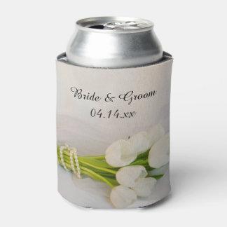Weiße Tulpe-Blumenstrauß-Frühlings-Gastgeschenke Dosenkühler