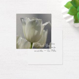 Weiße Tulpe danken Ihnen Anmerkungen Quadratische Visitenkarte