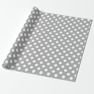 Weiße Tupfen auf Grau Geschenkpapier