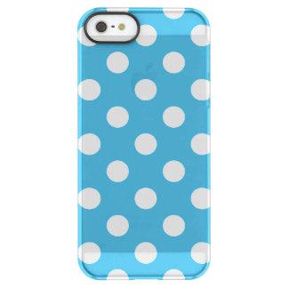 Weiße Tupfen auf Pfau-Blau-Hintergrund Permafrost® iPhone SE/5/5s Hülle