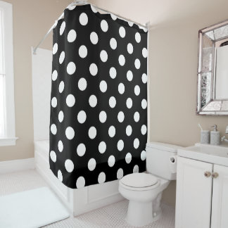Weiße Tupfen auf schwarzem Hintergrund Duschvorhang