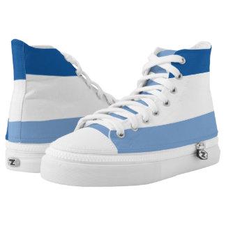 Weiße und hellblaue gestreifte hoch-geschnittene sneaker