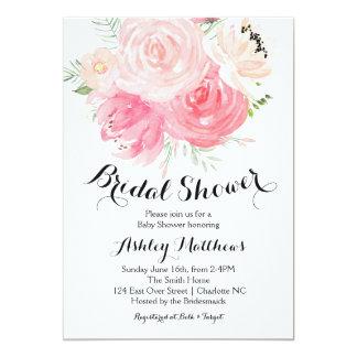 weiße und lila BlumenBrautparty-Einladung Karte