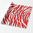 Weiße und rote Tiger-Streifen-Tierdruck Geschenkpapier