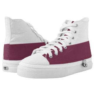 Weiße und wahre kastanienbraune Zwei-Ton Hoch-geschnittene Sneaker