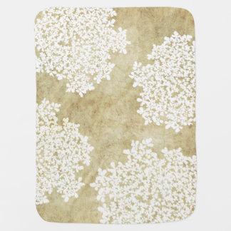 Weiße Vintage mit Blumenhochzeit Babydecke