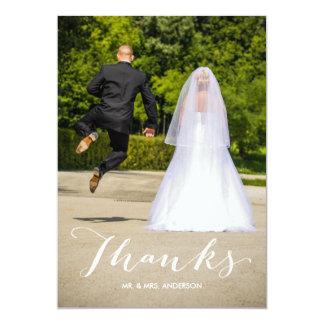 Weiße volle Foto-Hochzeit der Kalligraphie-| 12,7 X 17,8 Cm Einladungskarte