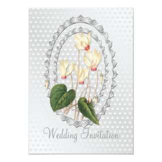 Weiße Wedding CyclamenWedding Einladungs-Karte Karte