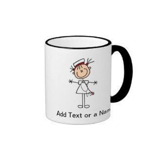 Weiße weibliche Geschenke der Strichmännchen-Krank Ringer Tasse
