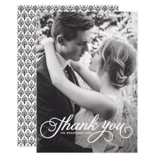 Weiße weibliche Skript-Foto-Hochzeit danken Ihnen 12,7 X 17,8 Cm Einladungskarte