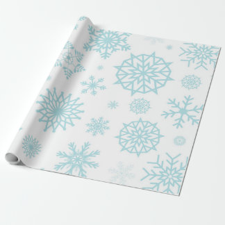 Weiße Winter-Schneeflocke-blaues weißes Geschenkpapier