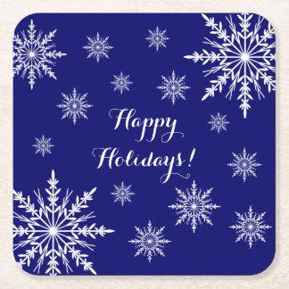 Weiße Winter-Schneeflocken auf Blau frohe Rechteckiger Pappuntersetzer