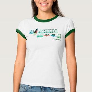 Weißen weiblichen Micheal-Mondes T-Shirt