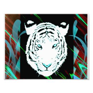 Weißer bengalischer Tiger auf einer Südwestart Bac Fotodruck