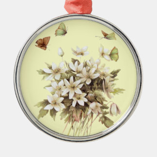 weißer Blumenentwurf mit weichem gelbem Rundes Silberfarbenes Ornament