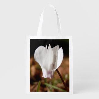 Weißer Cyclamen-wiederverwendbare Tasche Wiederverwendbare Einkaufstasche