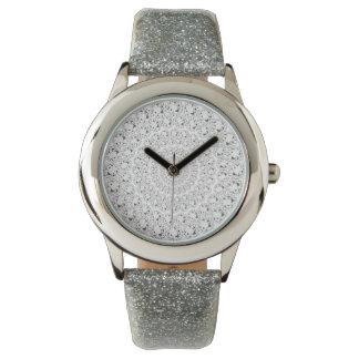 Weißer Diamant-Glitter kreist Muster ein Armbanduhr
