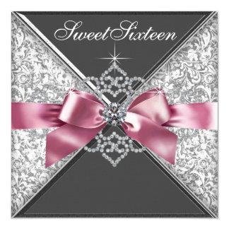 Weißer Diamant-Rosa-Schwarz-Bonbon 16 Quadratische 13,3 Cm Einladungskarte