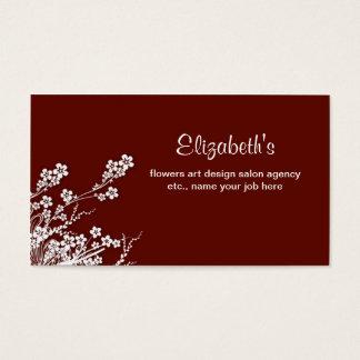 Weißer eleganter Salon Kirschblütes Burgunder Visitenkarte