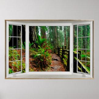 Weißer Erkerfenster-Illusions-Waldweg Poster