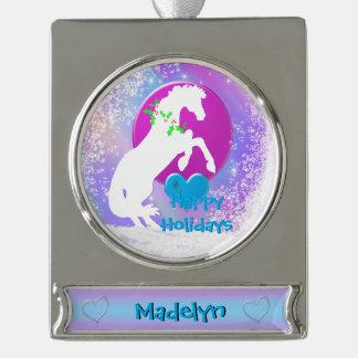 Weißer Feiertag der Herz-Pferdv Banner-Ornament Silber