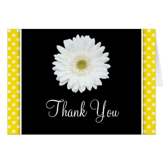 Weißer Gerbera-Gänseblümchen-Gelb-Tupfen danken Mitteilungskarte