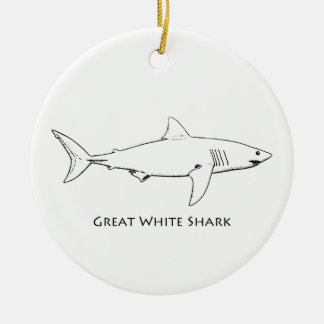 Weißer Hai (Linie Kunst) Keramik Ornament