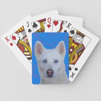 Weißer Husky-Standardspielkarten Spielkarten