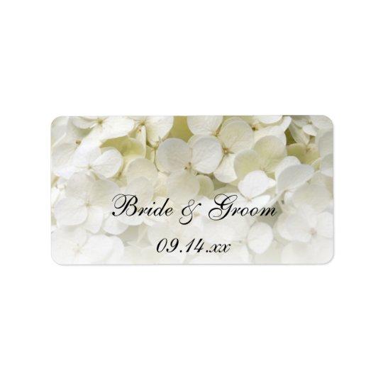 Weißer Hydrangea-BlumenGastgeschenk Adress Aufkleber