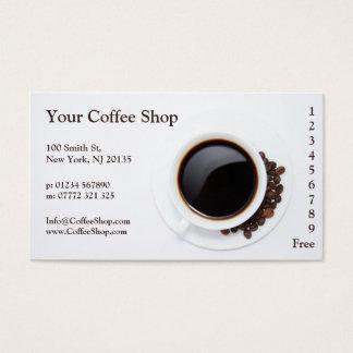 Weißer Kaffee-Tasse und Bohnen-Foto, Visitenkarten