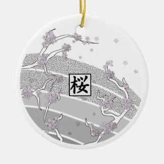Weißer Kirschblüten-Baum Keramik Ornament