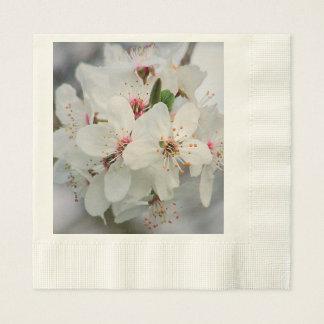 Weißer Kirschblüten-Entwurf Papierservietten