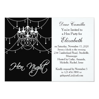 Weißer Leuchter auf schwarzem Henne-NachtParty 12,7 X 17,8 Cm Einladungskarte
